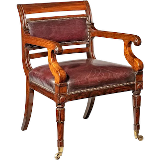 A rosewood library chair in the manner of Henry Holland made for the Senior Service Club