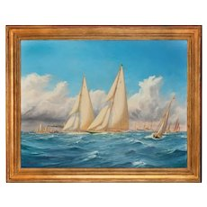 A rare painting of 1930 America's Cup racing off Newport, signed 'Harold Wyllie'