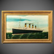 An original oil painting by D Beagles of the Titanic at full steam
