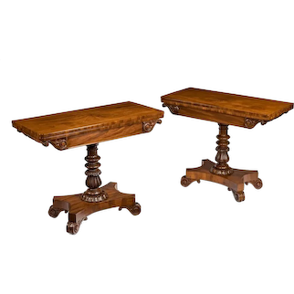 A companion pair of William IV flame-mahogany card tables