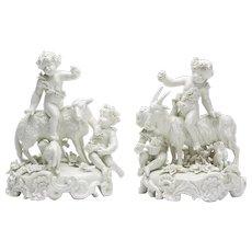 Pair Antique Vienna Blanc De Chine Figure Groups 19th C.