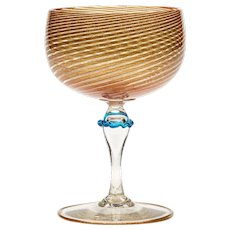 Italian Salviati Aventurine Wine Glass C.1900