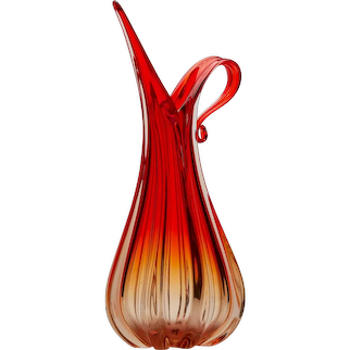 Ercole Barovier & Toso Murano Red Art Glass Pitcher Vase