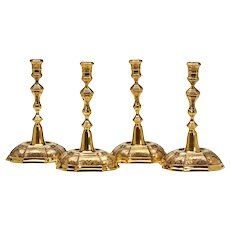 Tiffany & Co Four Danish Gilt Silver Candlesticks