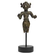 Antique Indian Mounted Bronze Deity Figure 18th C.
