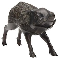 Japanese Meiji Bronze Wild Boar Figure 19th C.