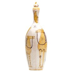 Guido Gambone Italian Art Pottery Bottle Mid 20th C.