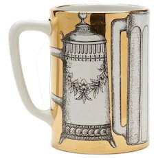 Vintage Italian Fornasetti Mug Decorated With Beer Steins