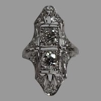Antique Victorian 1.05 CTW Diamond & Platinum Ring w/ Independent Appraisal