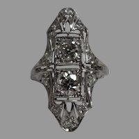 Antique Victorian 1.05 CTW Diamond & Platinum Ring w/ Independent Appraisal