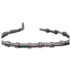 18k - 1.70 CTW - Art Deco Style Vintage Square Step Emerald & Diamond Bracelet in White Gold