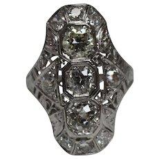Antique Victorian 2.19 CTW Diamond & Platinum Ring w/ Independent Appraisal