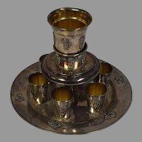Vintage Floral Eichbom Sterling Silver (925) Shot Glass and Distributor Set