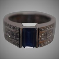 18k LeVian Blue Sapphire & Diamond Timeless Ring in White Gold