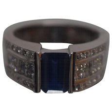 18k LeVian Blue Sapphire & Diamond Timeless Ring in White Gold