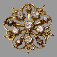 14KT Yellow Gold Contemporary Filigree Elegant Diamond Brooch/ Pin or Pendant