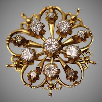 14KT Yellow Gold Contemporary Filigree Elegant Diamond Brooch/ Pin or Pendant