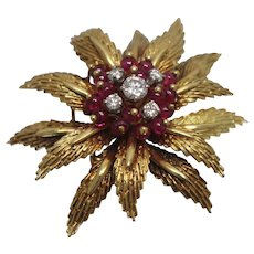 18K Toliro Italy High Quality Brooch with Ruby & Diamond w/ Independent Appraisal