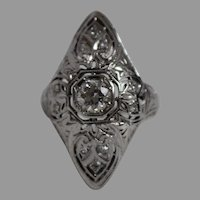 18K White Gold Filigree Diamond Ring - w/ Independent Appraisal