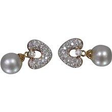 18K Yellow Gold South Sea Cultured Pearl & Diamond Earrings w/ Appraisal!