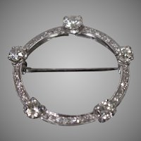 Vintage 20th Century Circle Pin Brooch w/ Diamonds in Palladium w/ Appraisal!