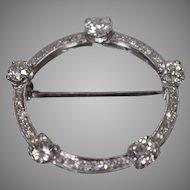Vintage 20th Century Circle Pin Brooch w/ Diamonds in Palladium w/ Appraisal!