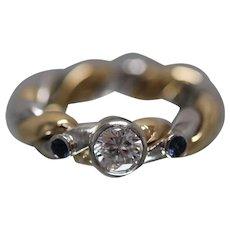18k / Platinum - .89 CTW - Bezel Set Diamond & Sapphire Hand Made Custom Engagement Ring in Rich Yellow Gold and Platinum