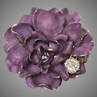 14K Flower Pin Brooch Art Nouveau Purple Enameled 1.30 CTW Diamond Pendant