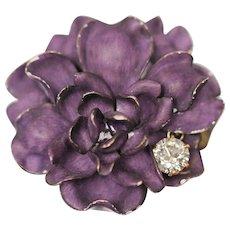14K Flower Pin Brooch Art Nouveau Purple Enameled 1.30 CTW Diamond Pendant