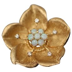 14KT Yellow Gold Blossoming Flower Cabochon White Opal & Diamond Brooch/ Pin