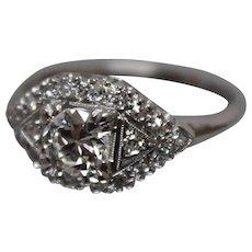 Vintage Victorian Diamond Platinum Ring - w/ Independent Appraisal