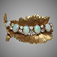 18KT Crystal Opal & Diamond Brooch in Yellow Gold w/ Independent Appraisal