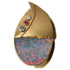 18K Yellow Gold Custom Handmade Diamond Topaz Spinel Black Opal Sailboat Brooch Pin