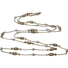 18k - 3.73 CTW - French Victorian Diamond & Freshwater Pearl Station Necklace in Yellow Gold