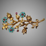18KT Yellow Gold Mid-20th Century Floral Branch Twig Brooch/ Pin with Rubies & Cabochon Turquoise Stones