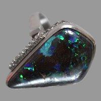 15.10CT Boulder Opal & Diamond Platinum Cocktail Ring - w/ Independent Appraisal