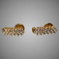 22KT Yellow Gold 1.50 CTW Contemporary Diamond Threaded Post J-Earrings