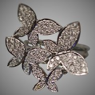 18KT White Gold Articulated Fluttering Floating Butterfly Cocktail Pave Set Diamond Ring