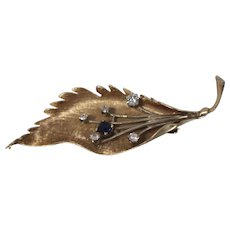 14KT Textured Leaf Flower Diamond & Sapphire Pin/ Brooch