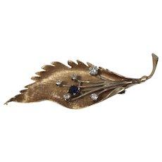 14KT Textured Leaf Flower Diamond & Sapphire Pin/ Brooch