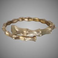14KT Yellow Gold Bamboo Bypass Bangle Bracelet 18.9g - ~7.5 in.