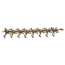14KT Yellow Gold Frog Bracelet - Signed TT - 8""