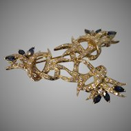 18KT Yellow Gold Contemporary Diamond & Brilliant Blue Sapphire Brooch/ Pendant