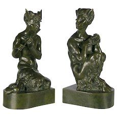 Sir Alfred Gilbert (British 1854–1934) A Pair of Bronze Sculptures of Fauns
