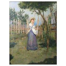 Circle of Giovanni Fattori (1825 - 1908) Italian Macchiaioli School The Olive Picker Oil on Canvas