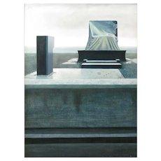 Eduardo Oliveira Cezar (Argentinian 1942-2006) Bulldozer and Beach Oil on Panel