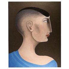 John Wright (British b.1932) Portrait Oil on Canvas