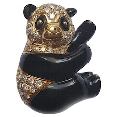 VCA diamond and onyx panda bear brooch