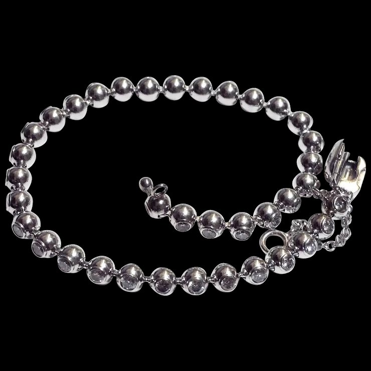 Cartier Tennis Bracelet 18k White Gold And Diamonds Set In