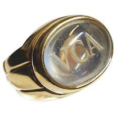 VCA Signature moonstone carved logo 18K gold ring